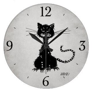 Grande Horloge Ronde Chat noir mauvais en lambeaux gris en pierre