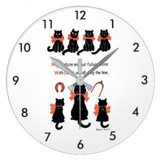 Grande Horloge Ronde Chats chanceux, Louis Wain