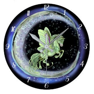 Grande Horloge Ronde Cheval de fée de mite de Luna Moonduster