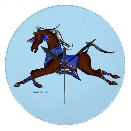 Grande Horloge Ronde cheval indien