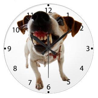 Grande Horloge Ronde Chien agressif - chien fâché - chien drôle
