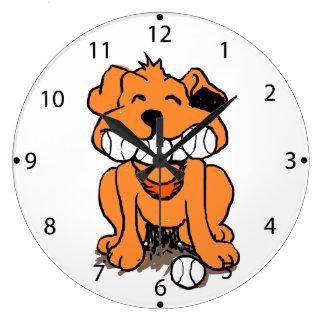 Grande Horloge Ronde Chien avec des boules dans la bouche