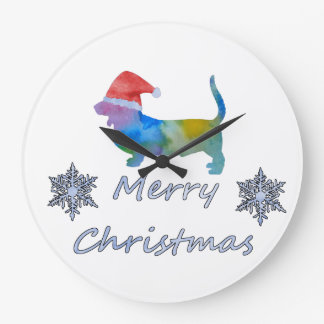 Grande Horloge Ronde Chien de basset de Noël