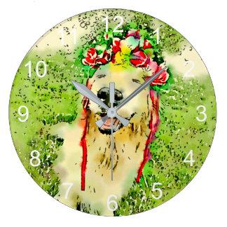 Grande Horloge Ronde Chien de golden retriever avec l'aquarelle de