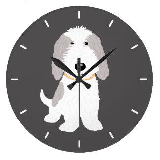 Grande Horloge Ronde Chien mignon PBGV de bande dessinée