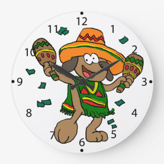 Grande Horloge Ronde Chiens mexicains avec des maracas