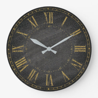Grande Horloge Ronde Chiffre romain décoratif d'or noir rustique