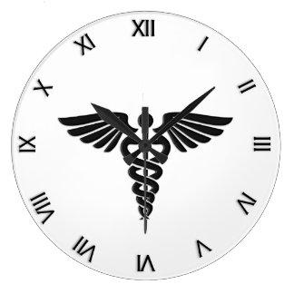 Grande Horloge Ronde Chiffres romains d'insignes médicaux de caducée