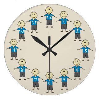 Grande Horloge Ronde Chiffres souriants heureux amusement de bâton de
