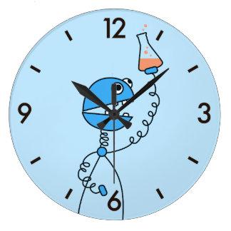Grande Horloge Ronde Chimie drôle bleue de robot de bande dessinée