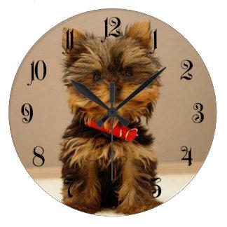 Grande Horloge Ronde Chiot de Yorkshire Terrier