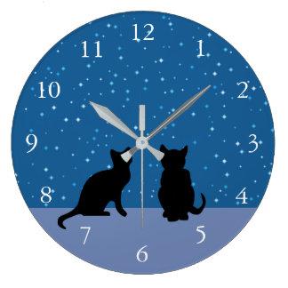 Grande Horloge Ronde Ciel nocturne foncé de chats mignons avec des