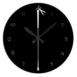 Grande Horloge Ronde Ciseaux blancs chauds NOIRS de MELTPOINT