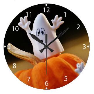 Grande Horloge Ronde Citrouille et fantôme - fantôme drôle - citrouille