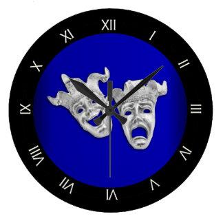 Grande Horloge Ronde Cobalt de masques de théâtre de comédie et de