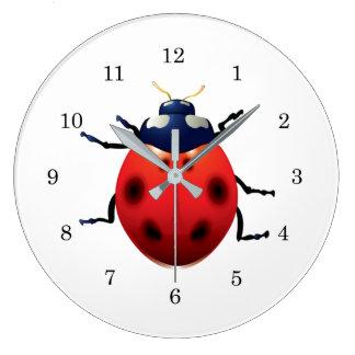 Grande Horloge Ronde Coccinelles