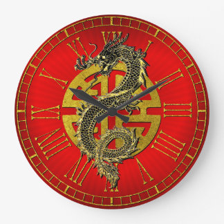 Grande Horloge Ronde Coeur chinois de prospérité de symbole de dragon