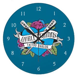 Grande Horloge Ronde Coeur de salon de tatouage du suicide peloton |