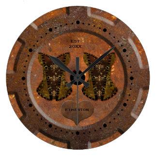Grande Horloge Ronde Coeur de Steampunk et montre de poche de corsets