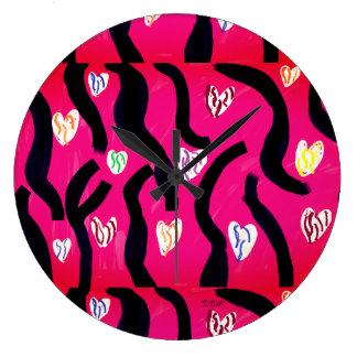 Grande Horloge Ronde Coeur de tigre