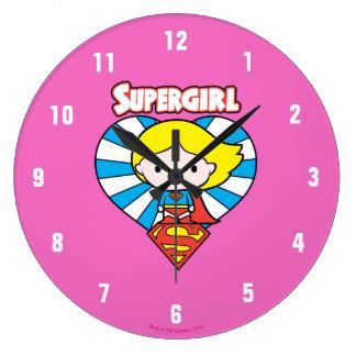 Grande Horloge Ronde Coeur et logo de Chibi Supergirl Starburst