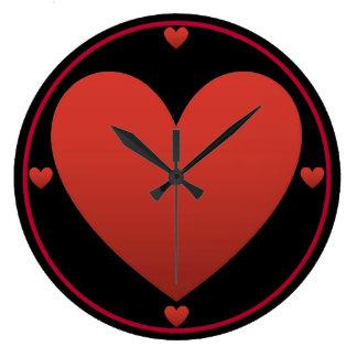 Grande Horloge Ronde Coeur rouge sur le noir