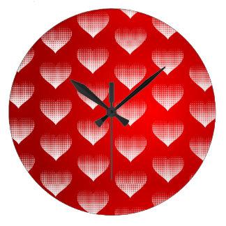 Grande Horloge Ronde Coeurs de effacement de pixel blanc mignon avec