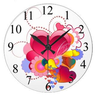 Grande Horloge Ronde Coeurs et fleurs