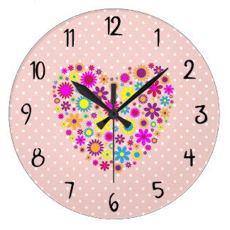 Grande Horloge Ronde Coeurs, fleurs, pétales - pourpre jaune bleu rose