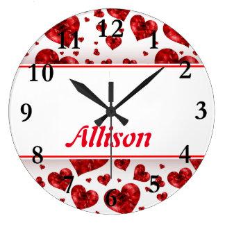Grande Horloge Ronde Coeurs rouges