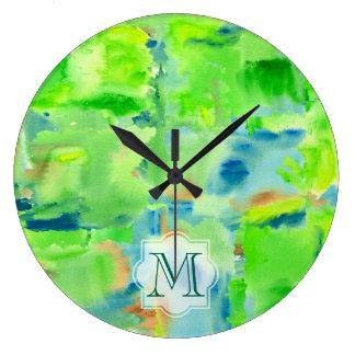 Grande Horloge Ronde Collage d'aquarelle d'abrégé sur forêt de ressort
