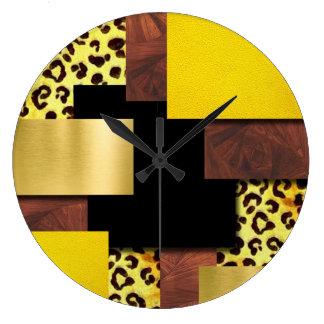 Grande Horloge Ronde Collage d'empreinte de léopard et en bois