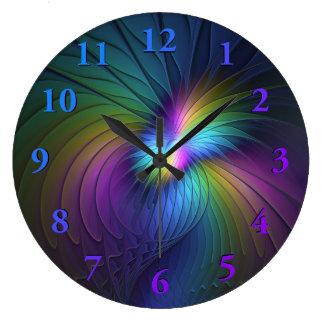 Grande Horloge Ronde Coloré avec l'art abstrait moderne bleu de