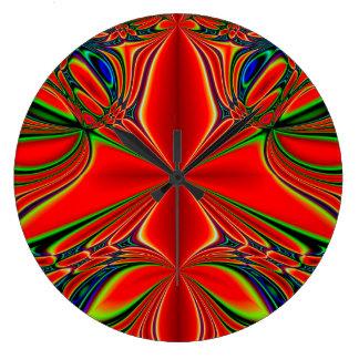 Grande Horloge Ronde Conception abstraite rouge et verte