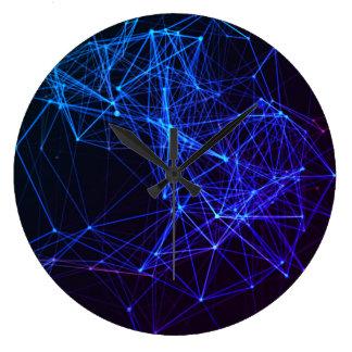 Grande Horloge Ronde Conception bleue au néon
