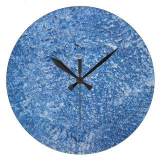 Grande Horloge Ronde Conception bleue de texture d'art abstrait