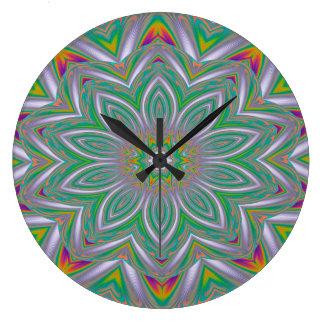 Grande Horloge Ronde Conception concentrique d'art abstrait