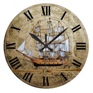 Grande Horloge Ronde Conception de bateau vintage unique avec la corde
