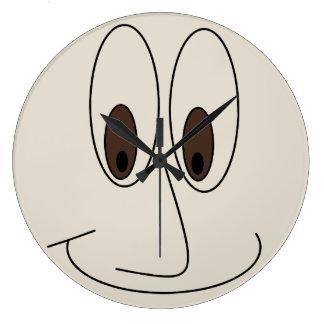 Grande Horloge Ronde Conception de sourire drôle de visage