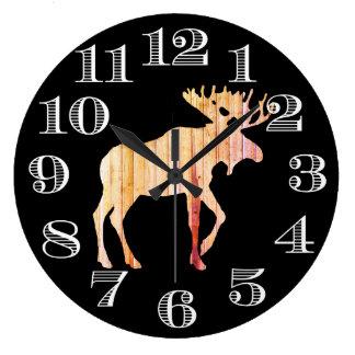 Grande Horloge Ronde Conception en bois d'horloge d'orignaux de grange