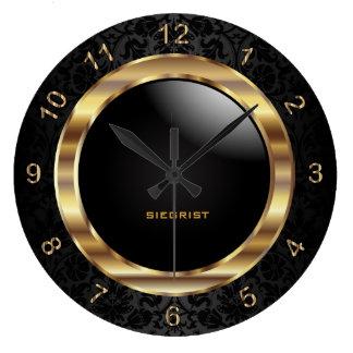 Grande Horloge Ronde Conception noire élégante de damassé