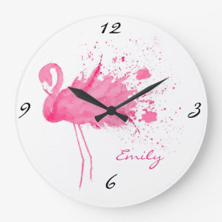 Grande Horloge Ronde Conception rose de flamant