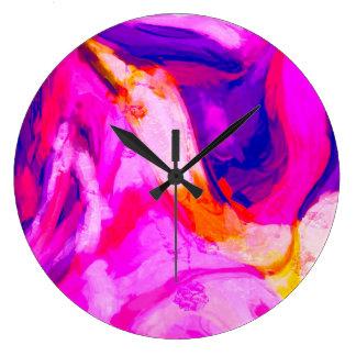 Grande Horloge Ronde Conception rose et bleue abstraite