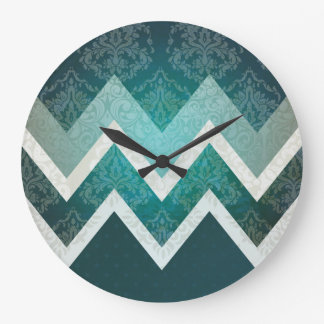 Grande Horloge Ronde Conception turquoise de Chevron de style antique