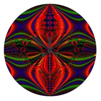 Grande Horloge Ronde Conception verte de conception abstraite et bleue