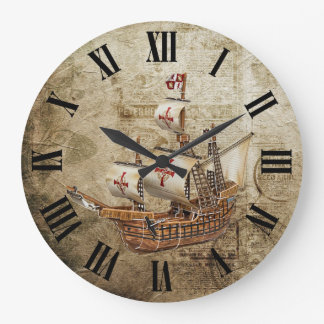 Grande Horloge Ronde Conception vintage de chiffres romains de bateau