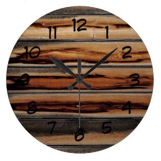 Grande Horloge Ronde Cool en bois de texture de barrière unique
