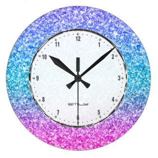 Grande Horloge Ronde Copie colorée de texture de scintillement