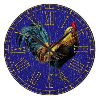 Grande Horloge Ronde Coq vintage votre peinture de couleur