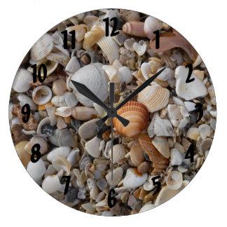 Grande Horloge Ronde Coquillages au bord de mer